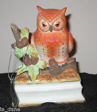 TOWLE JOHNATHON BYRON PORCELAIN OWL MUSIC BOX ROYAL CROWN ON OFF SWITCH BIRDS