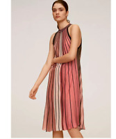 Fully Lined Multicolour Striped 'Commeta' A Line Halter Dress by Mango size 8