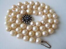 Echte Perlen Kette mit Jka 835 Silber Verschluß + Saphir 35,5 g / 47 cm