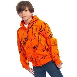 Kid Orange Safety Full Zip Hi Vis Thick Fleece Hooded Sweatshirt Hunting jacket