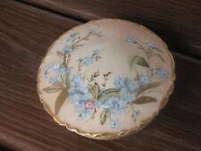 Antique Limoges H&C Porcelain Dresser Box Hand Painted Blue Flowers Matked
