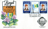 MUSTIQUE 1982 BIRTH OF PRINCE WILLIAM 50c GUTTER PAIR FIRST DAY COVER (c)
