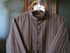 2XL 18-34/35 COTTON KENNETH COLE REACTION STRIPE BANDED COLLARLESS WESTERN SHIRT