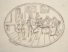 Feine Gesellschaft Kaffee Damen   Kupferstich von Hogarth um 1800
