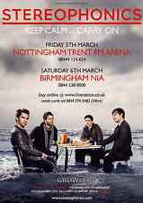STEREOPHONICS  - 2010 TOUR FLYER - GENUINE RARE LIVE CONCERT MUSIC PROMO