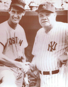 """Ted Williams & Babe Ruth Poster Print - Vintage Handshake Photo - 11""""x14"""" Sepia"""
