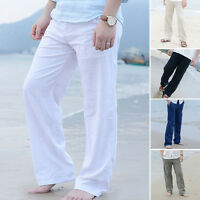 Gents Men's Linen Pants Loose Beach Drawstring Slacks Comfortable Yoga Trousers