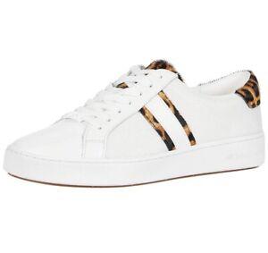 Women MK Michael Kors Irving Stripe Lace Up Sneakers Mesh/Leather Optic White