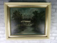 Antique 19th Century Oil Painting Landscape Mill Nighttime Victorian Framed
