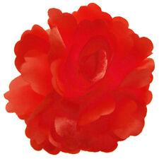 Pince à cheveux bibi fleur satin rouge vif