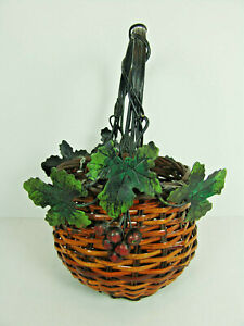 Woven Wine Basket with Metal Grapes Leaves Handle Gift Basket Holiday