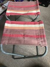 2 Vintage folding Stools Ideal Chairs For Camping VW Campervans And Holidays