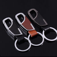 Men Metal Leather Pendant Keychain Keyring Bag Holder Chain Decor Accessories