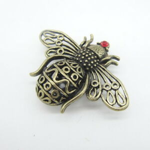Vintage Bronze Ox Cute Bee Safety Pin Brooch Lapel Badge Party Wedding Fashion