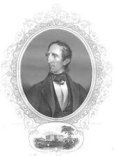 REUPBLIC OF TEXAS President JOHN TYLER Virginia ~ Old 1856 Art Print Engraving