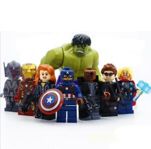 AVENGERS SUPER HERO MINI FIGURES FOR LEGOS, MEGABLOCKS, MARVEL, 8 Characters!!!