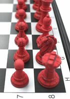 FOLDING MAGNETIC CHESS BOARD - FANCY RED & White COLOR PIECES WITH INSTRUCTION