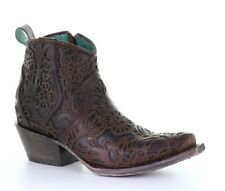 G1496 CORRAL FULL FLORAL INLAY BROWN LEATHER ANKLE BOOT