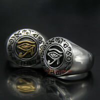 Men's Solid Stainless Steel Egypt Eye of Horus Symbol of Protection Signet Ring