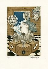 Tarot Signs, Nude, Ex libris Etching by Paolo  Rovegno Italy