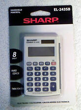 Sharp EL243SB Handheld 8 Digit Hard Cover Twin Power Solar or Battery Calculator