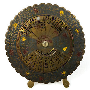 Vintage Brass 20-Year Perpetual Calendar Rotating Desk Stand Up Manual Rotation