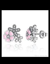 Blooming sterling silver 925 poetic daisy cherry blossom stud earrings