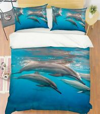 3D Sea Dolphin O675 Animal Bed Pillowcases Quilt Duvet Cover Set Queen King Fay