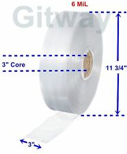 """3"""" x 725' Clear Poly Tubing Tube Plastic Bag Polybags Custom Bags on a Roll 6ML"""