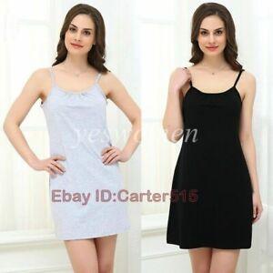 Women Full Slips Cotton Spaghetti Strap Scoop Neck Straight Dress Nightwear