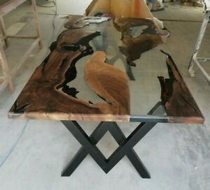 Natutal Walnut wood clear epoxy River Dining table Ready To Shipp