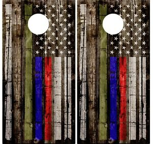 Pair of Thin Blue Red Green Wood Cornhole Board Vinyl Decal Wrap Wraps Support