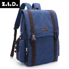 Korea Men Vintage Canvas Backpack Hiking Travel Messenger Bag Rucksack deepblue