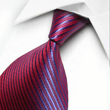 NEW RED BLUE STRIPES CLASSIC MEN'S CHINA SILK WEDDING TIE UK SELLER GIFT