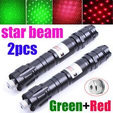 2Pcs Upgraded Star Lamp Green+Red Beam Laser Pointer Pen Teaching Lazer Light