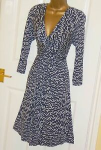 Phase Eight stretchy navy grey print printed smart jersey day tea dress 12