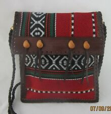 Small Red Peru Print Cloth and Leather Flat Crossbody Purse Bag
