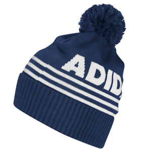 ADIDAS 2021 FONT BOBBLE BEANIE / THERMAL FLEECE LINED BOBBLE HAT / CREW NAVY