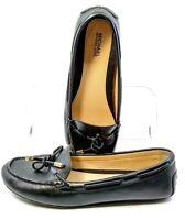 Michael Kors Sutton Moccasin Women's 9M Black Leather Bow Slip Driving Flat Shoe