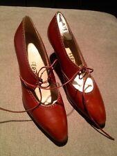 Salvatore Ferragamo NEW Lace Pointy Toe Oxford Mary Jane Pumps Heel Brown 6.5 B