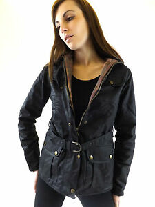 New Wax Jacket Brown Fitted Ladies Belted British Cotton Country Walking Outdoor