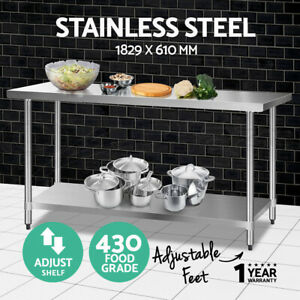 Cefito Stainless Steel Kitchen Benches Work Bench Food Prep Table 1829x610mm 430