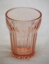 "Old Vintage Pink Depression Ribbed Juice Glass 3 oz. Unknown Maker 3-1/4"" Tall"