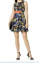 KAREN MILLEN Floral Print Fit-and-flare Dress In Multi Colour Uk 10 RRP£150.00
