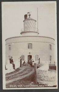 Postcard Newport Monmouthshire Wales the West Usk Lighthouse posted 1908 RP