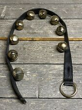 Vintage 9 Large Brass Sleigh Bells on 3ft Leather Strap With Brass Ring