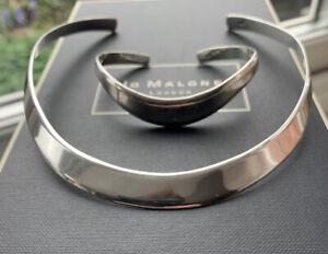 STERLING SILVER 925 HALLMARKED CUFF COLLAR - NECKLACE  &  WAVE BRACELET BANGLE