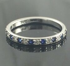 0.50ct Cubic Zirconia & Blue Sapphire Women's Wedding Band 925 Sterling Silver