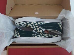 VANS Classic Slip-On Checkerboard Green Canvas Men VN0A4U382NH Size 11
