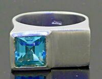 Italian heavy 14K WG 3.50CT 8.5mm Blue topaz solitaire cocktail ring size 8.25